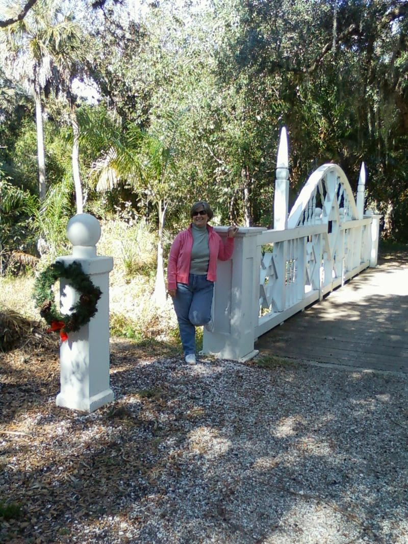 Diane at Koreshan Park, Estero, FL.... Christmas decorations